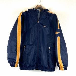 Nike Full Zip Hooded Blue & Gold Coat Size Small
